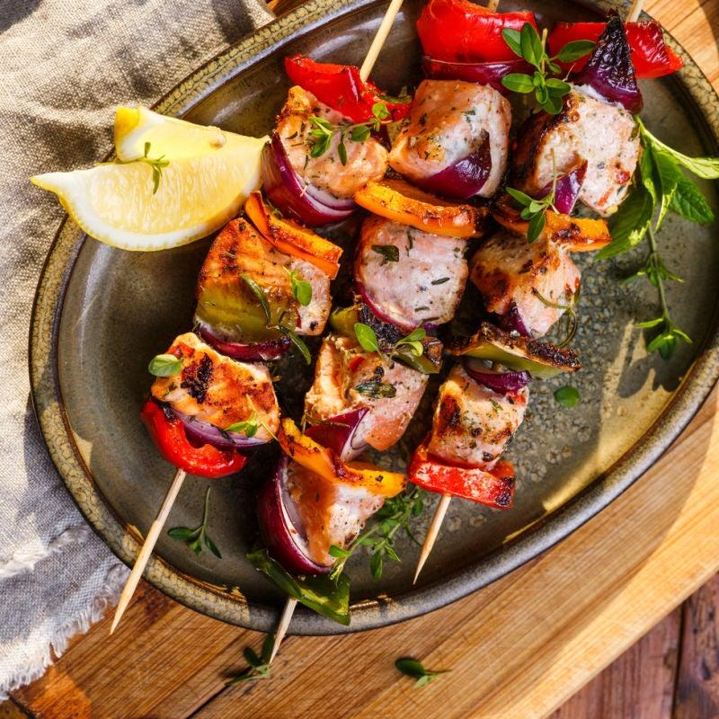 Foto de Espetinhos de salmão com legumes por WW