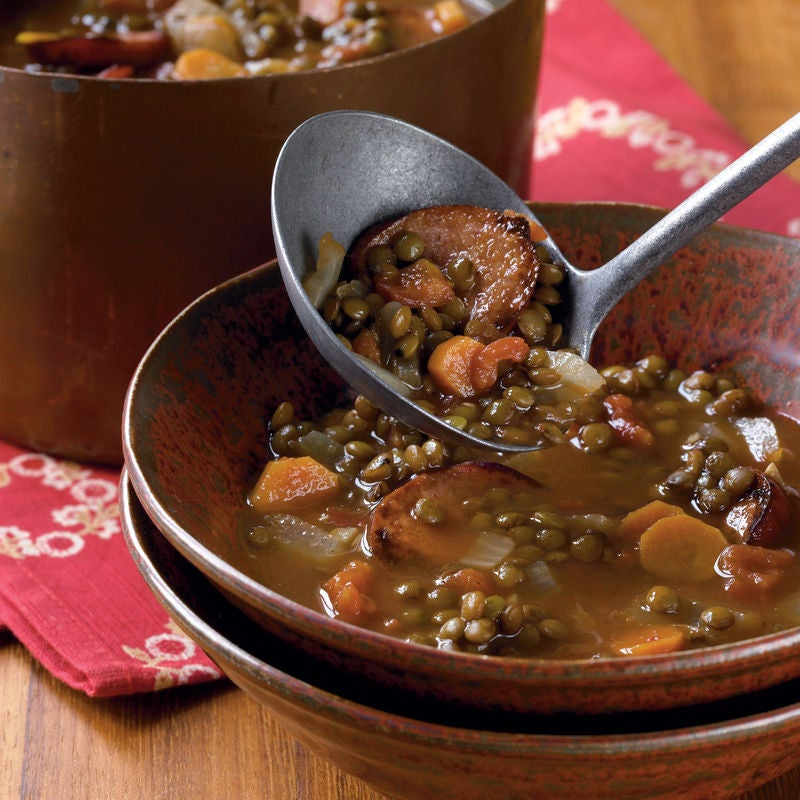 Foto de Sopa de lentilha com linguiça de peru por WW