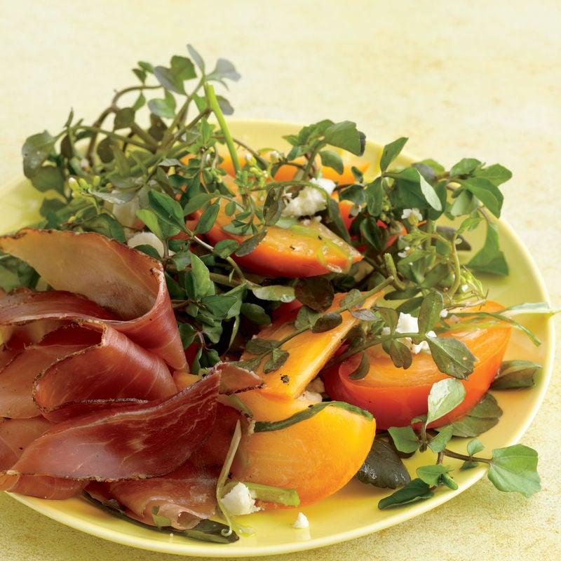 Salada de Agrião com Caqui e Vinagrete Agridoce