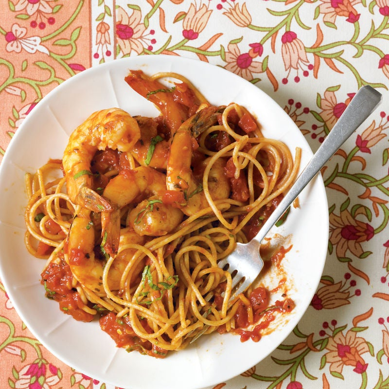 Foto de Espaguete com camarão à la arrabbiata por WW